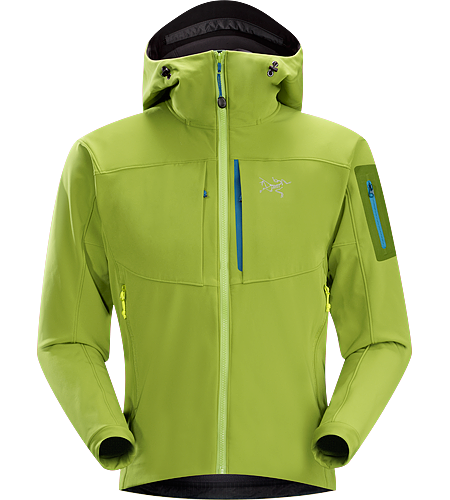 Gamma MX Hoody $^Men's^$ <strong>Gamma Series: Softshell outerwear with stretch | MX: Mixed Weather. </strong> Breathable, wind-resistant, lightly insulated hooded jacket constructed with Fortius 2.0 textile for increased comfort and mobility