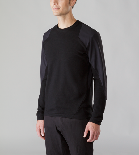 Graph Sweater Men's Breathable Merino wool sweater fortified with stretch woven nylon panels in the shoulders and arms that protect against abrasion and add a subtle, tonal element to the overall appearance