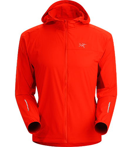 Incendo Hoody Men's Trim-fitting, minimalist running jacket with hood, constructed with water-resistant fabric in the body and sleeves. Ideal for high output activities