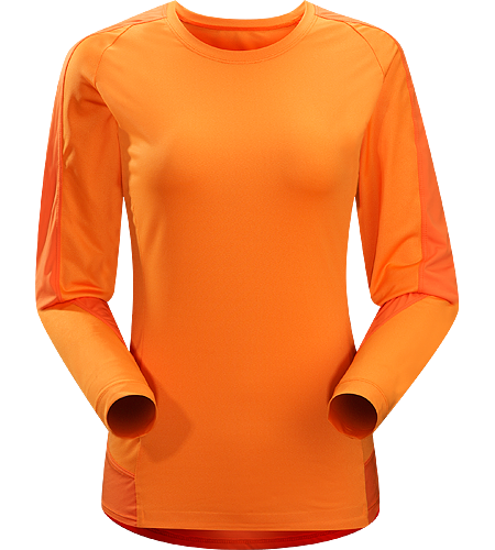 Mentum Comp LS Women's Lightweight, breathable, long sleeved shirt constructed with durable, stretchy textile and patterned for athletic use; ideal for a wide range of aerobic activities.