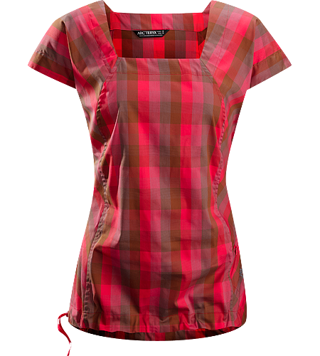 Mirin SS $^Women's^$ Relaxed fitted cap sleeve blouse with an adjustable waist drawcord and a flattering square neckline constructed using a lightweight, breezy textile.