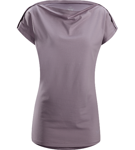 Motive SS Women's Relaxed fit T-shirt with a scooped boat neck neckline, tunic style length, and snap fasteners across the shoulders that adds a unique aesthetic.