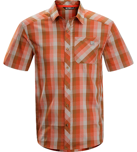 Peakline Shirt SS $^Men's^$ Trim-fitting, short-sleeved collared shirt made from breathable, moisture-wicking Cotton/Polyester blend textile.
