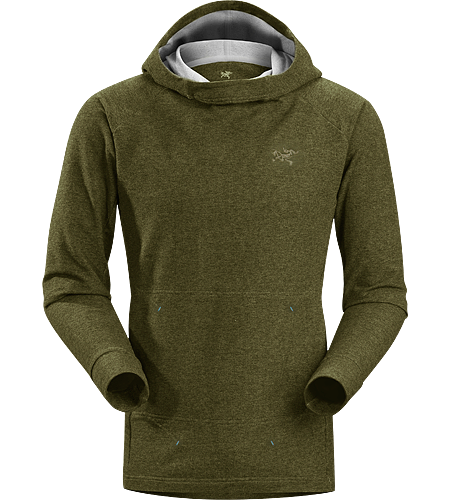 Quiq Hoody Men's Trim fitting, pullover style hoody with a tall collar and relaxed hood, constructed with a stretchy, comfortable cotton blend terry knit fabric; Ideal for bouldering, climbing and casual use.