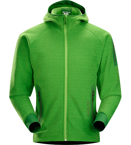 Strato Hoody Men's Insulated, breathable snowsports hoody with a laminated hood brim, designed as a layering piece.