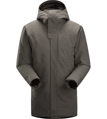 Therme Parka Men's Waterproof/windproof GORE-TEX® insulated three-quarter length hooded parka with down insulation.