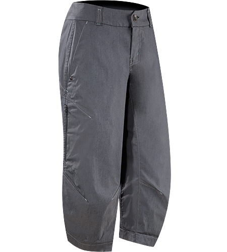 A2B Commuter Long Women's Denim-inspired water repellant, quick drying,  longer inseam capri short with hidden reflective elements for commuters.