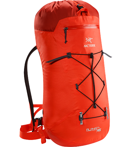 Alpha FL 45 Backpack Alpha Series: Climbing and alpine focused systems | FL: Fast and Light. Ultralight and highly weather resistant 45 litre climbing pack suited to fast and light alpine, ice, rock and ski mountaineering routes.