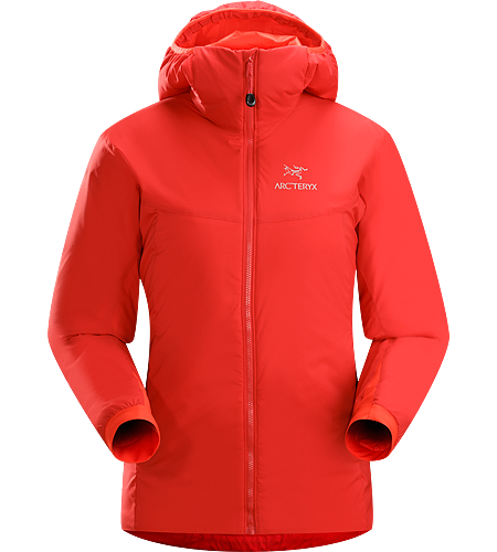 Atom AR Hoody Women's Atom Series: Synthetic insulated mid layers | AR: All-Round. Warm insulated Coreloft™ jacket with an insulated hood; Ideal for use as a super-warm mid-layer in cold conditions, or as a stand-alone piece in warmer conditions.