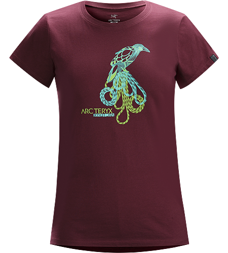 Bird on a Rope T-Shirt Women's Cotton short sleeve tee with a hand drawn raven graphic.