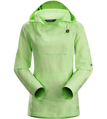 C'esta Hoody Women's Lightweight, breathable cotton/linen hoody with roll up sleeves and an elastic drawcord on the hem.