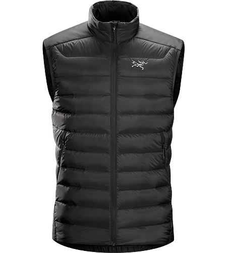 Cerium LT Vest Men's Down Series: Down insulated garments | AR: All-Round. Streamlined, lightweight, vest filled with 850 white goose down. This backcountry specialist vest is intended as a mid layer or standalone piece in cool, dry conditions
