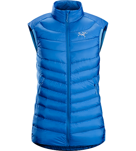 Cerium LT Vest Women's Down Series: Down insulated garments | AR: All-Round. Streamlined, lightweight, vest filled with 850 white goose down. This backcountry specialist is intended as a mid layer or standalone piece in cool, dry conditions.
