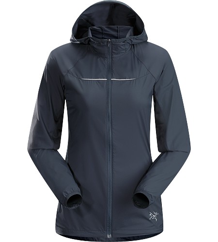 Cita Hoody Women's Redesigned for 2014. A lightweight, moisture and wind resistant hooded running jacket with mesh underarm panels to vent perspiration