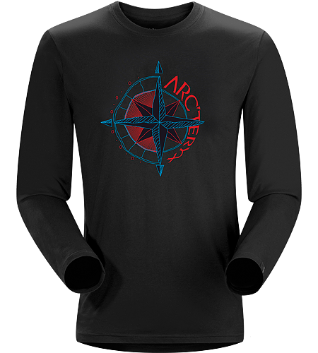 Compass T-Shirt LS Men's Cotton long sleeve tee with a hand drawn compass graphic.