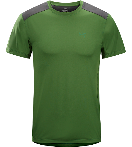 Ether Comp Crew SS Men's Lightweight men's trail shirt with hybrid construction. Made with air permeable Helius™ polyester in the body, Enduraflex™ reinforcements in the shoulders.