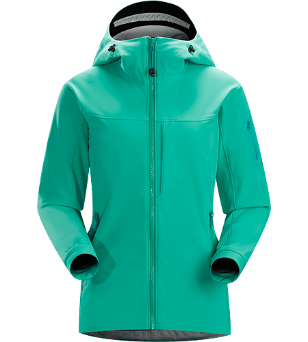 Gamma MX Hoody Women's Gamma Series: Softshell outerwear with stretch | MX: Mixed Weather. Breathable, wind-resistant, lightly insulated hooded jacket constructed with Fortius 2.0 textile for increased comfort and mobility