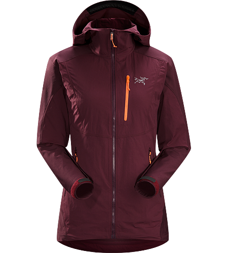 Gamma SL Hybrid Hoody Women's Gamma Series: Softshell outerwear with stretch | SL: Superlight. Lightweight, air permeable wind and moisture resistant hoody designed for rock and alpine climbing. Constructed using two weights of softshell for enhanced mobility and durability.