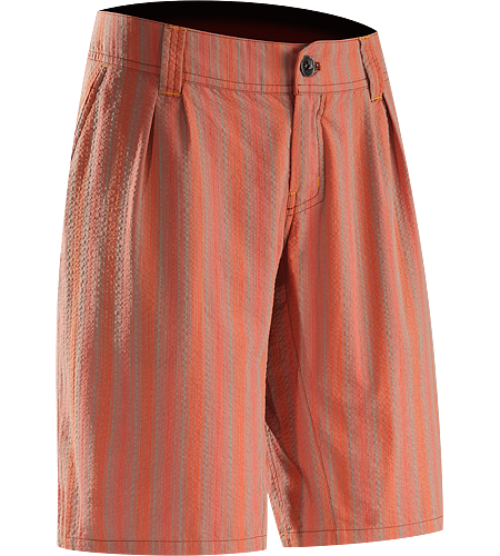 Kalama Short Women's Trim fitting, striped shorts made using a lightweight, textured organic cotton and polyester seersucker textile that is comfortable in hot weather conditions.