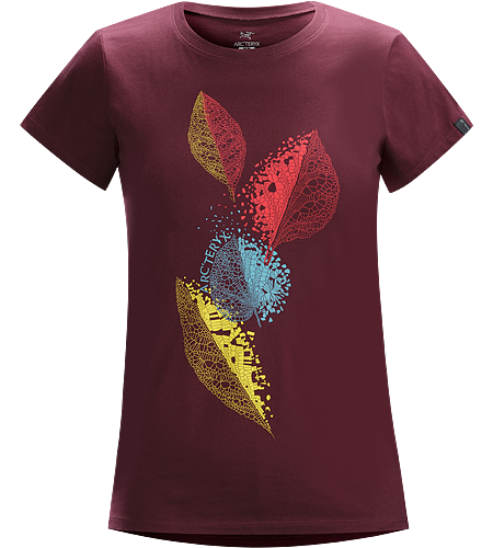 Leaf Cascade T-Shirt Women's Cotton short sleeve T-shirt with an elegant leaf graphic.