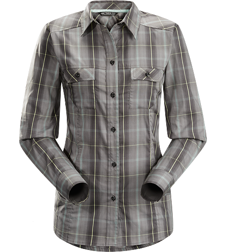 Melodie Shirt LS Women's Long sleeve, button down Wye™ cotton/polyester women's plaid shirt for casual wear on hotter days.
