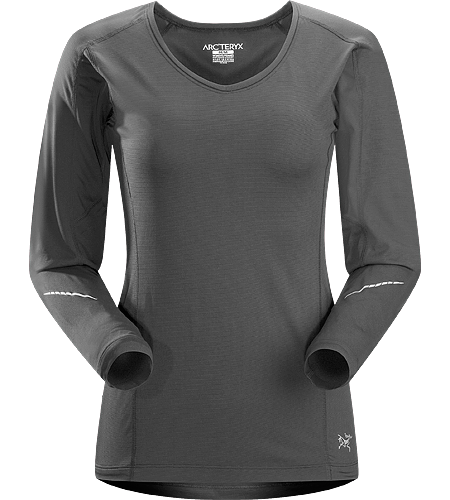Motus Crew LS Women's Relaxed fit, long-sleeved, crew neck shirt constructed using Phasic Technology textile; ideal for high-output, stop-and-go activities.
