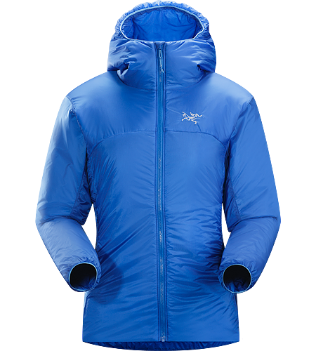Nuclei Hoody Women's Trim fitting, lightweight, compressible Coreloft™ insulated belay jacket delivering exceptional warmth for very little weight.