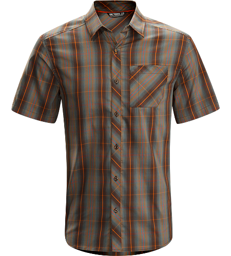 Pathline Shirt SS Men's Relaxed fit, easy care, short sleeved collared shirt made from light, airy Wye™ cotton/polyester blend fabric.