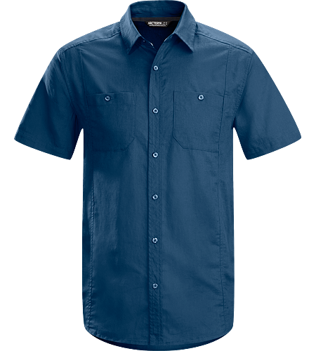 Ravelin Shirt SS Men's Short sleeved, easy care linen/cotton blend button down shirt with clean lines and natural fibre comfort.