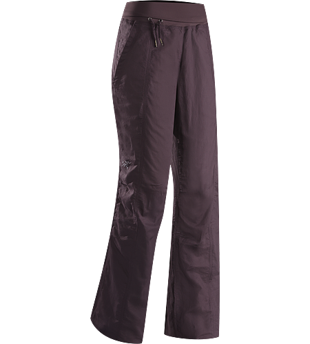 Roxen Pant Women's Lightweight, breathable, relaxed fit cotton/linen pant with a wide, comfortable fold-over waistband with drawcord, and elastic drawcord in the pant cuffs. Ideal for casual urban use in hot weather, or while travelling.