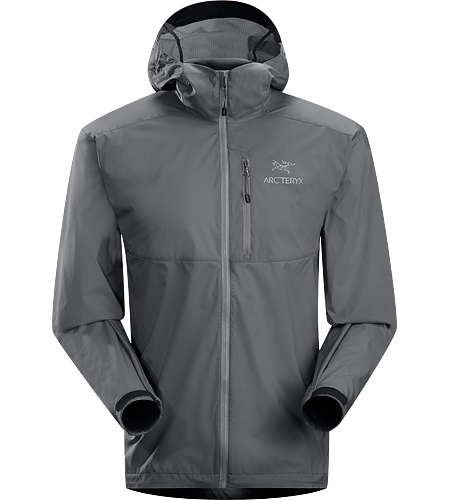 Squamish Hoody Men's Super lightweight, durable and compressible hooded jacket; Ideal as a wind resistant layer for warm weather activities