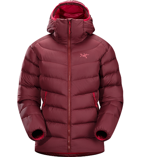 Thorium SV Hoody Women's Down Series: Down insulated garments | SV: Severe Weather. Generalist down hoody made from durable face fabrics and 750 fill grey goose down. Functions as a warm mid layer or standalone piece for cool, dry conditions.