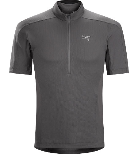 Velox Zip Neck Men's Lightweight, highly air permeable Libro™ polyester stretch mesh shirt with a deep front zipper. Designed for high output mountain training, endurance sports and hiking.