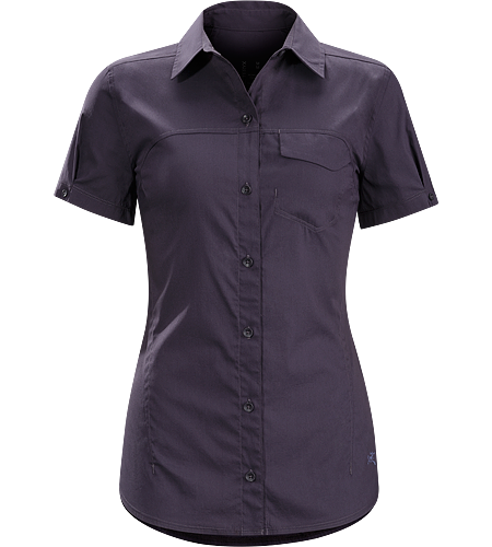 A2B Shirt SS Women's Trim fitting Tarha™ cotton/nylon blend button down shirt for bike commuting and urban wear.