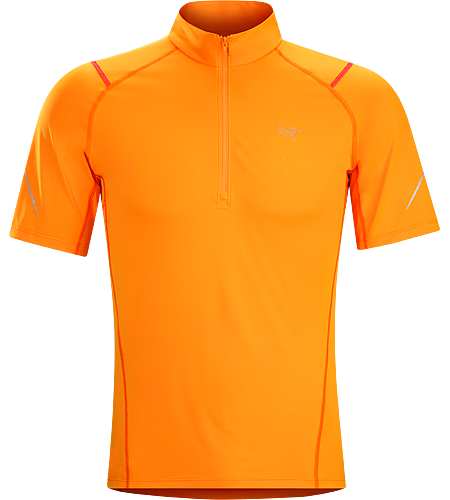 Accelerator Zip Neck SS Men's Technical short sleeve zip neck shirt provides light insulation and moisture wicking performance for high output activities in cooler conditions.
