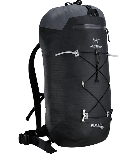Alpha FL 45 Backpack Ultralight and highly weather resistant 45 litre climbing pack suited to fast and light alpine, ice, rock and ski mountaineering routes. Alpha Series: Climbing and alpine focused systems | FL: Fast and Light.