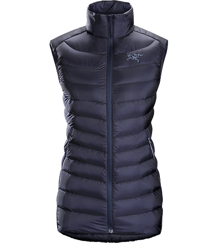 Cerium LT Vest Women's Streamlined, lightweight, vest filled with 850 white goose down. This backcountry specialist is intended as a mid layer or standalone piece in cool, dry conditions. Down Series: Down insulated garments | AR: All-Round.