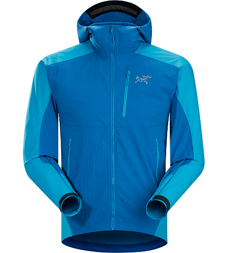Gamma SL Hybrid Hoody Men's Climber's softshell using hybrid technology to deliver lightweight, air permeable wind and moisture resistance with enhanced mobility and durability. Gamma Series: Softshell outerwear with stretch | SL: Superlight.