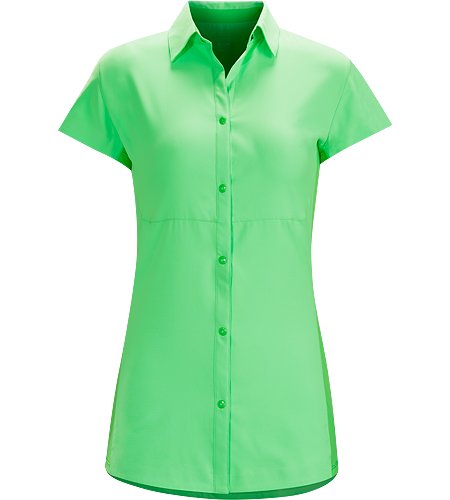 Libere Comp Cap Sleeve Women's Super light, quick drying Diem™ polyester cap sleeve collared shirt with snap front closure and Phasic™ SL underarm panels for moisture management. UPF 50+ sun protection.