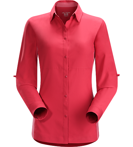 Libere Comp LS Women's Super light, quick drying Diem™ polyester long sleeve collared shirt with snap front closure and Phasic™ SL underarm panels for moisture management. UPF 50+ sun protection.