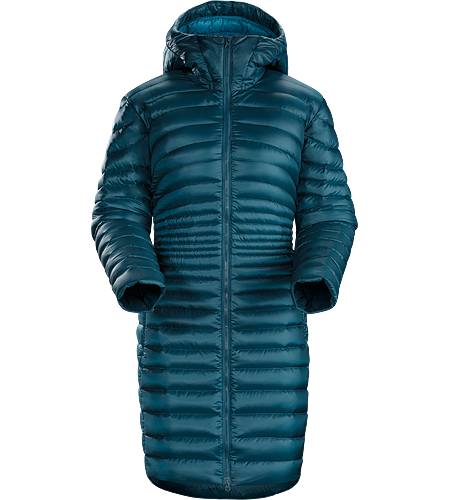 Nuri Coat Women's Warm, lightweight, stylish hooded down coat for mountain living and city streets.