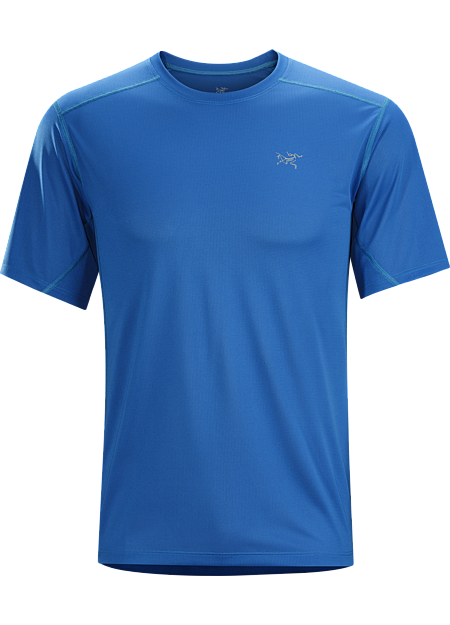 Actinium SS Men's Highly air permeable, lightweight, moisture wicking mesh short sleeve shirt patterned to maximize airflow. Designed for hot weather running and high output mountain training.