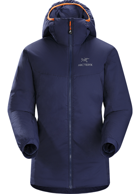 Atom AR Hoody Women's Warm insulated Coreloft™ jacket with an insulated hood; Ideal for use as a super-warm mid-layer in cold conditions, or as a stand-alone piece in warmer conditions. Atom Series: Synthetic insulated mid layers | AR: All-Round.