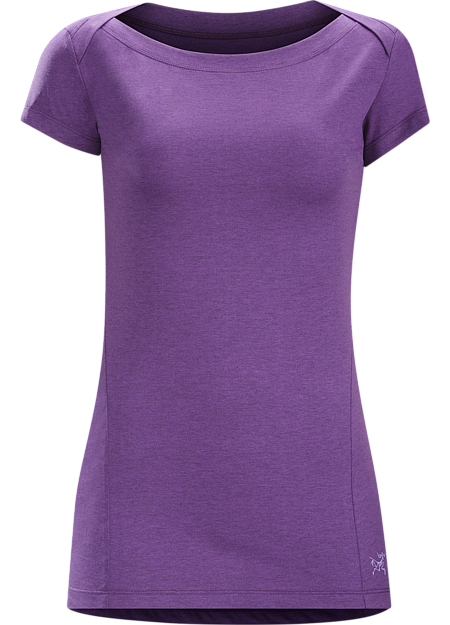 Cassia SS Women's Trim fitting, casually styled boat neck women's short sleeve top. Lylae™ fabric blends cool, comfortable cotton with quick drying polyester.
