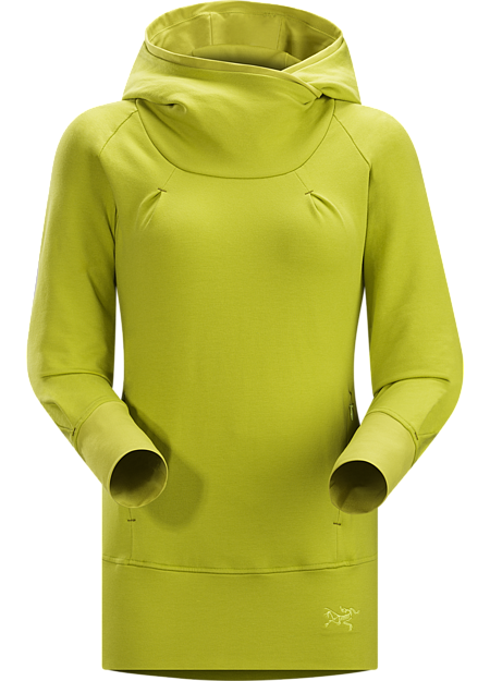 Detente Hoody Women's Casual cotton women's hoody with a lined hood, wraparound collar, thumbholes in the sleeves and a harness friendly waistbelt.
