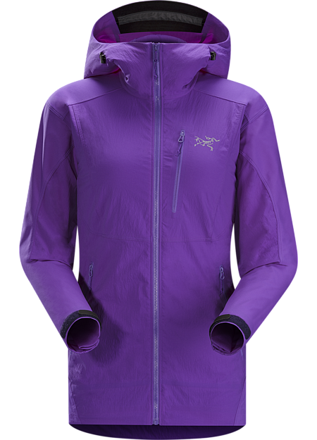 Gamma SL Hybrid Hoody Women's Lightweight, air permeable wind and moisture resistant hoody designed for rock and alpine climbing. Constructed using two weights of softshell for enhanced mobility and durability. Gamma Series: Softshell outerwear with stretch | SL: Superlight.