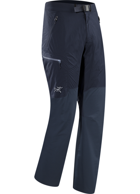 Gamma SL Hybrid Pant Men's Light, durable, weather resistant softshell pant leverages two materials for enhanced mobility and air permeability. Designed for rock and alpine climbing in warmer weather. Gamma Series: Softshell outerwear with stretch | SL: Superlight.