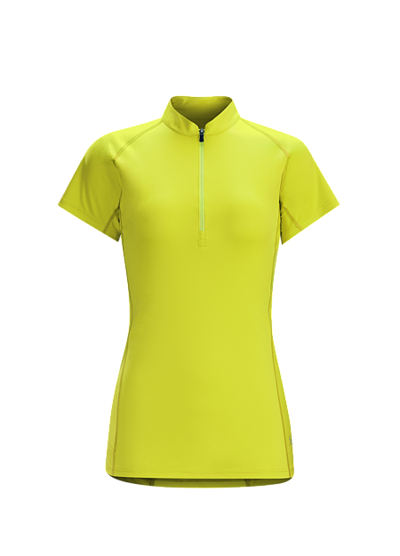 Kapta Zip Neck SS Women's Women's light, ventilated, moisture wicking short sleeve technical zip neck for high output mountain training in hot weather.