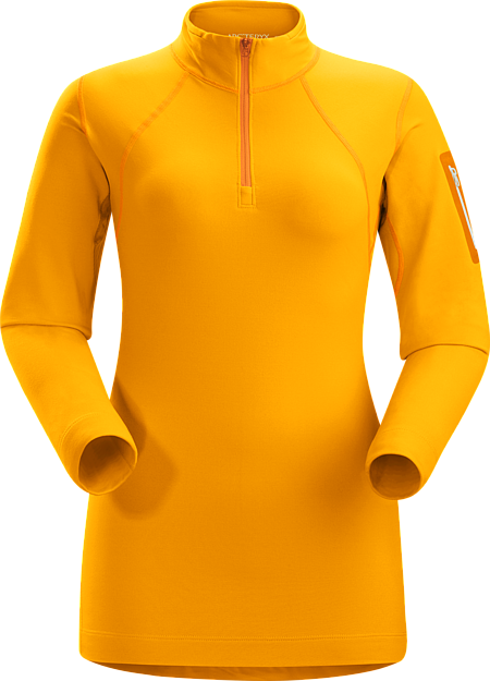 Rho LT Col zippé Femme Women's lightweight Torrent™ zip neck base layer for lower output activities in cool temperatures.