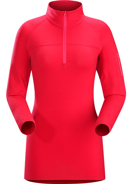 Rho LTW Zip Neck Women's Redesigned with new styling and a longer length. MAPP Merino wool base layer jersey.